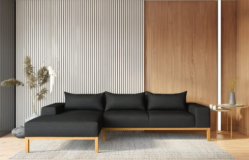Adam - L Shaped Chaise Sofa - Left - Knitted Black