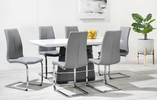 Alpine - High Gloss Curved Legs Extendable Dining Set - 6 Seats - Grey