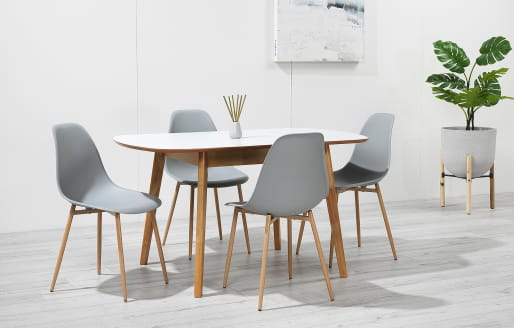Astrid - Extendable Dining Set - 4 Seats - Grey Resin