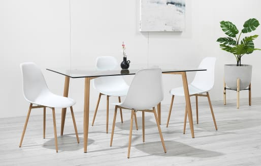 Astrid - Glass Dining Set - 4 Seats - White Resin