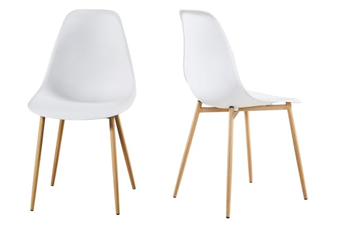Astrid – Resin Chairs – White – Wood Legs - Set of 2