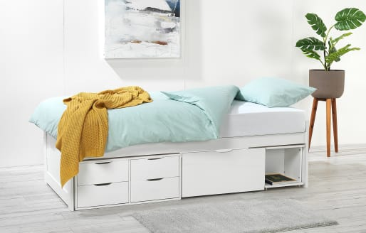 Franklin Single Bed with Mattress - White