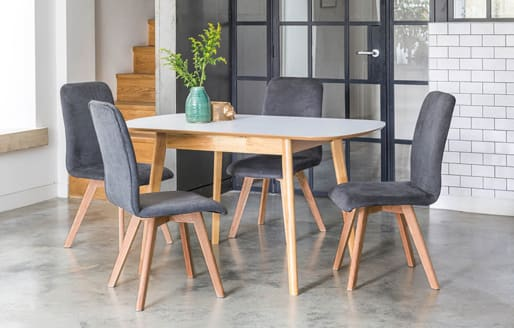 Berson - Extendable Dining Set - 4 Seats - Charcoal