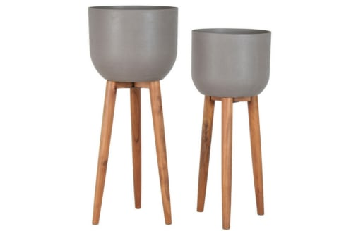 Set of 2 Concrete Planters on a Wooden Stand - W.36.5 X H.86cm / W.40 X H.97cm
