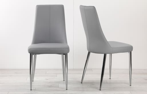 Eve – Leather Look Dining Chairs – Set of 2 – Grey
