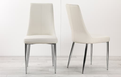 Eve – Leather Look Dining Chairs – Set of 2 – White