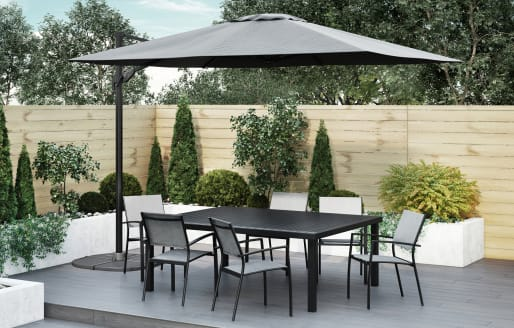 Havana - 6 Seater Extendable Dining Set and 3x3m Parasol