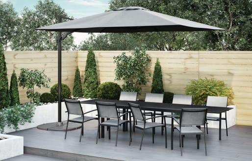 Havana - 8 Seater Extendable Dining Set and 3x4m Parasol