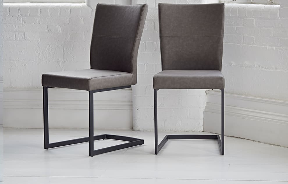 Varna - Square Leather Dining Chairs - Set of 2