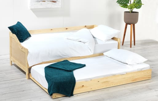 Ellison Single Bed with Pull-out Trundle and Mattress - Natural