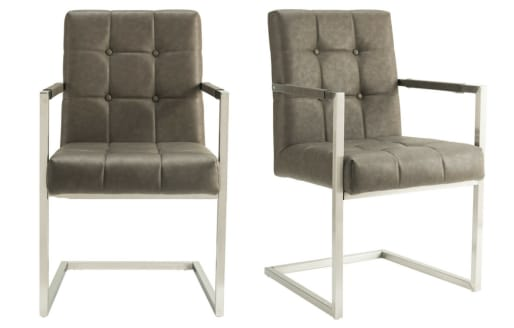 Lana - Leather Look Chair - Grey - Set of 2