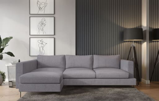 Lazy - 3-Seater Chaise Sectional Left - Soft Light Grey