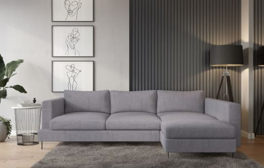 Lazy - 3-Seater Chaise Sectional Right - Soft Light Grey