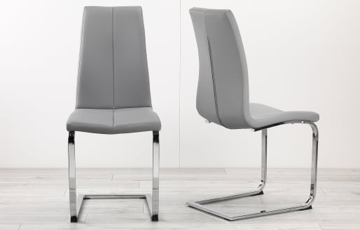 Martha - Leather Look Dining Chairs - Set of 2 - Grey