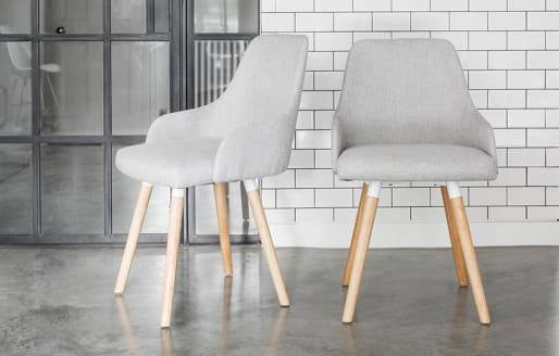 Vienna - Oak Dining Chairs with Grey Fabric - Set of 2